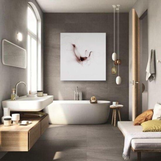 bathroom design with a square picture
