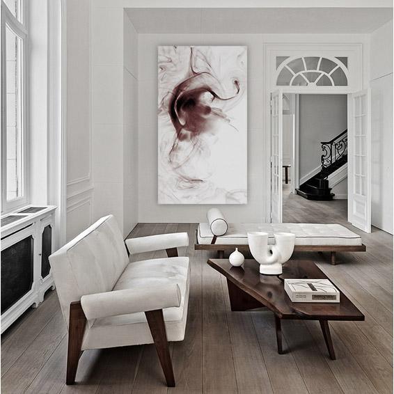 interno living bianco e marrone con quadro grande in tela